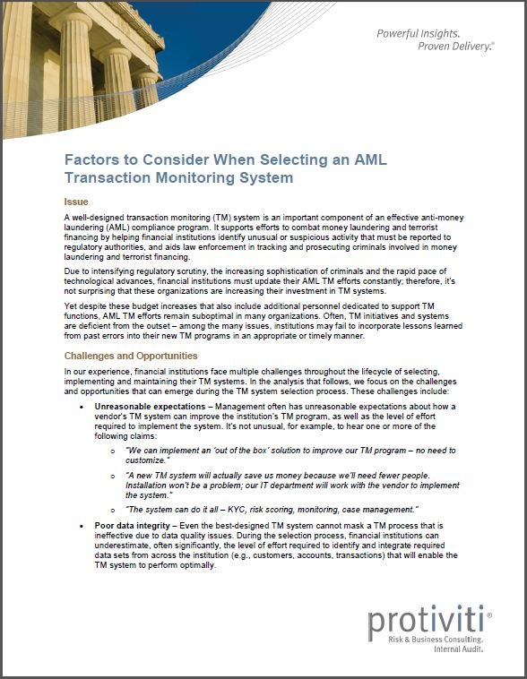 a well designed transaction monitoring tm system is an important component of an effective anti money laundering aml compliance program