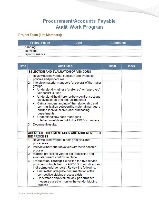 knowledge capture template - procurement accounts payable audit work program