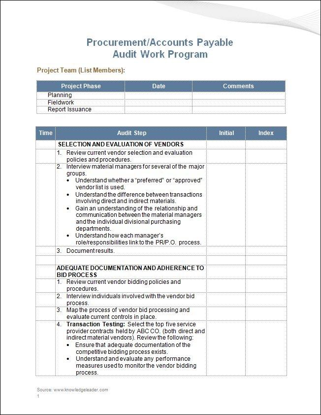 procurement accounts payable audit work program