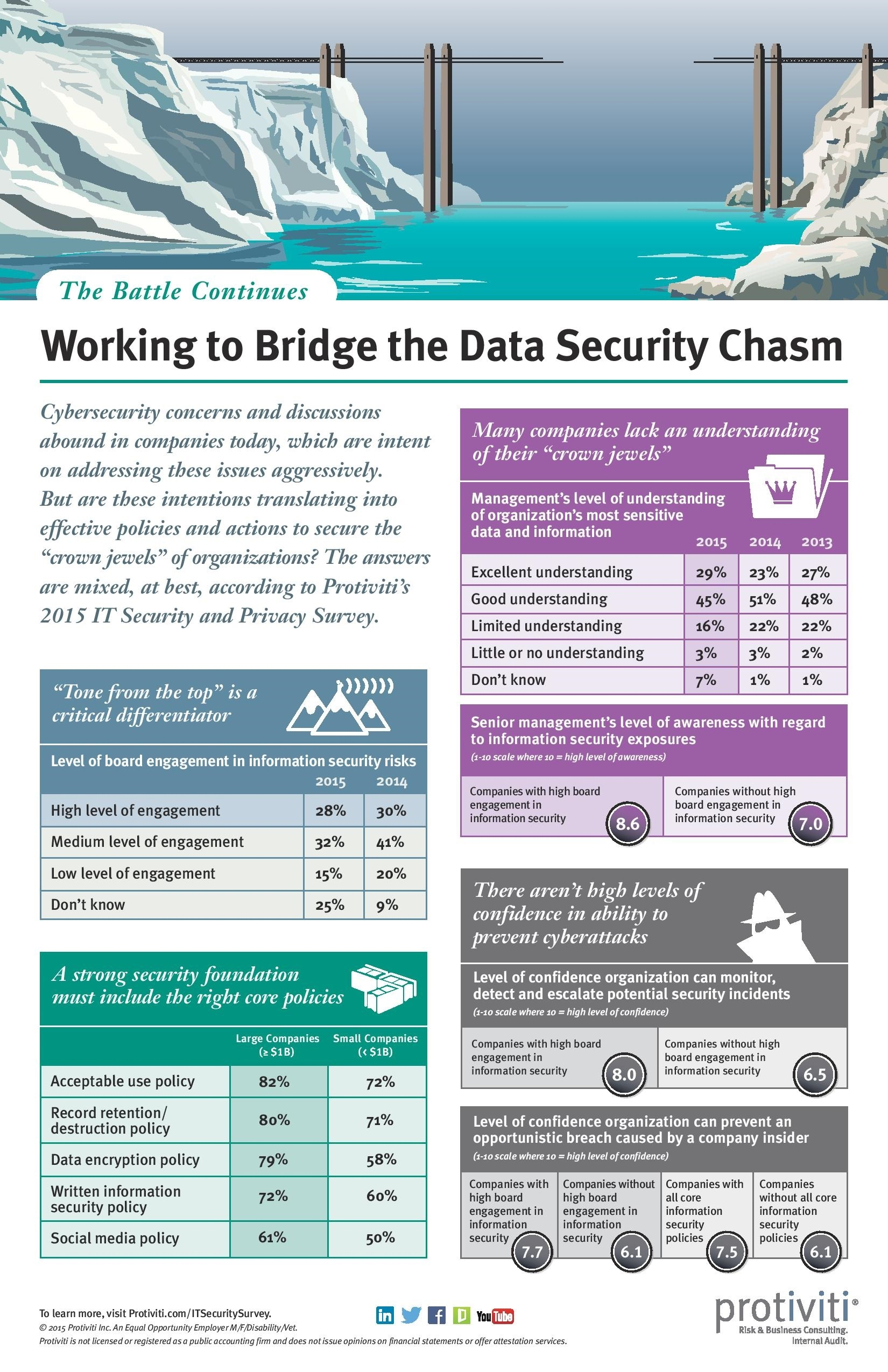 Thumbnail screenshot of the Working to Bridge the Data Security Chasm infographic