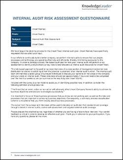 Internal Audit Risk Assessment Questionnaire