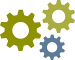 icon image of three turning mechanical gears